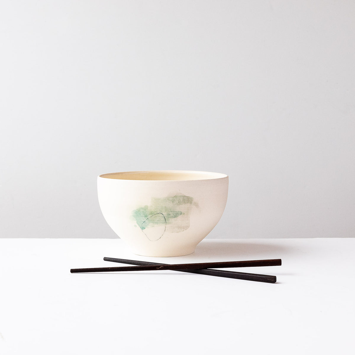 Green Pattern - Large Hand Painted White Porcelain Bowl Shown with Shop Sticks - Sold by Chic & Basta