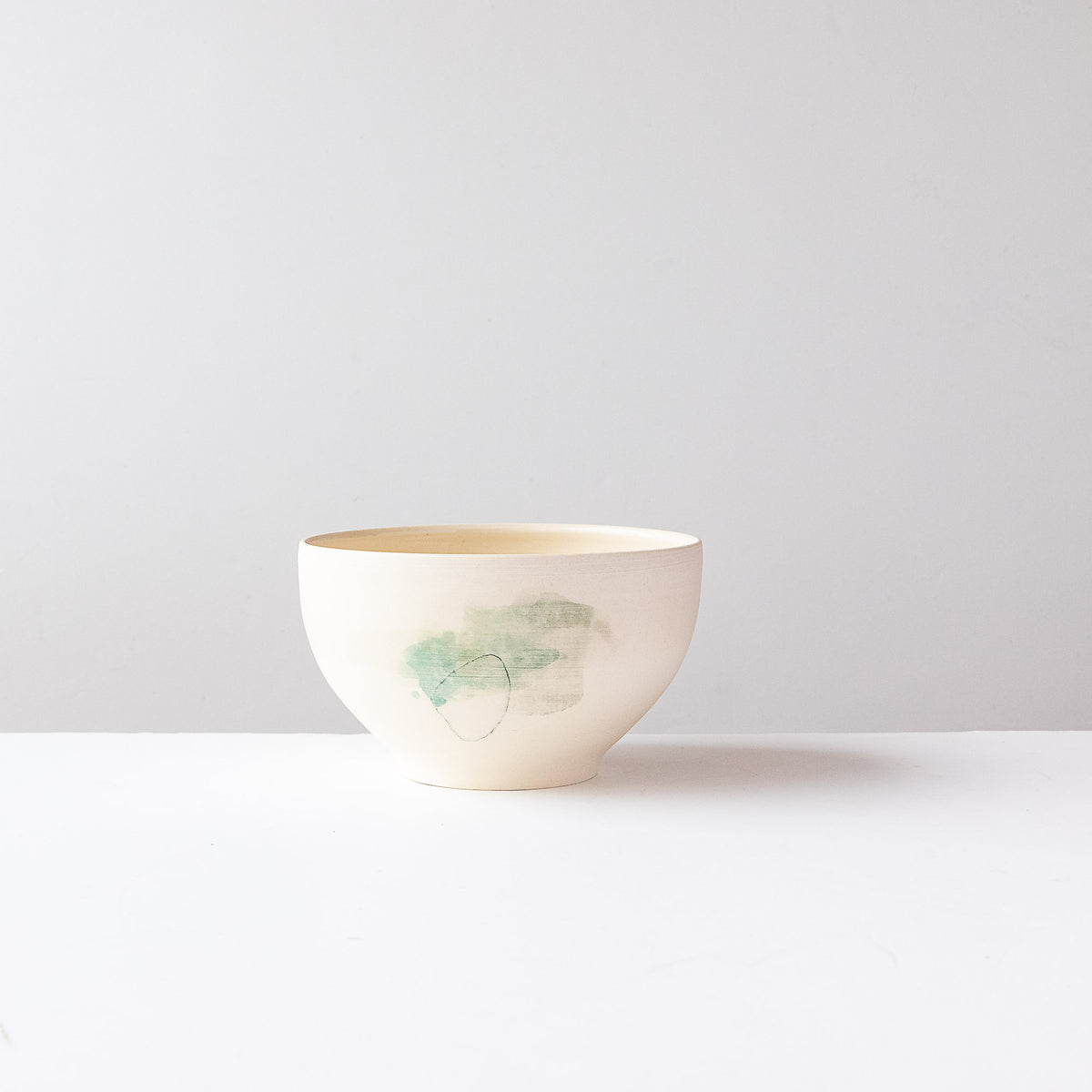 Green Pattern - Large Hand Painted White Porcelain Bowl - Sold by Chic & Basta