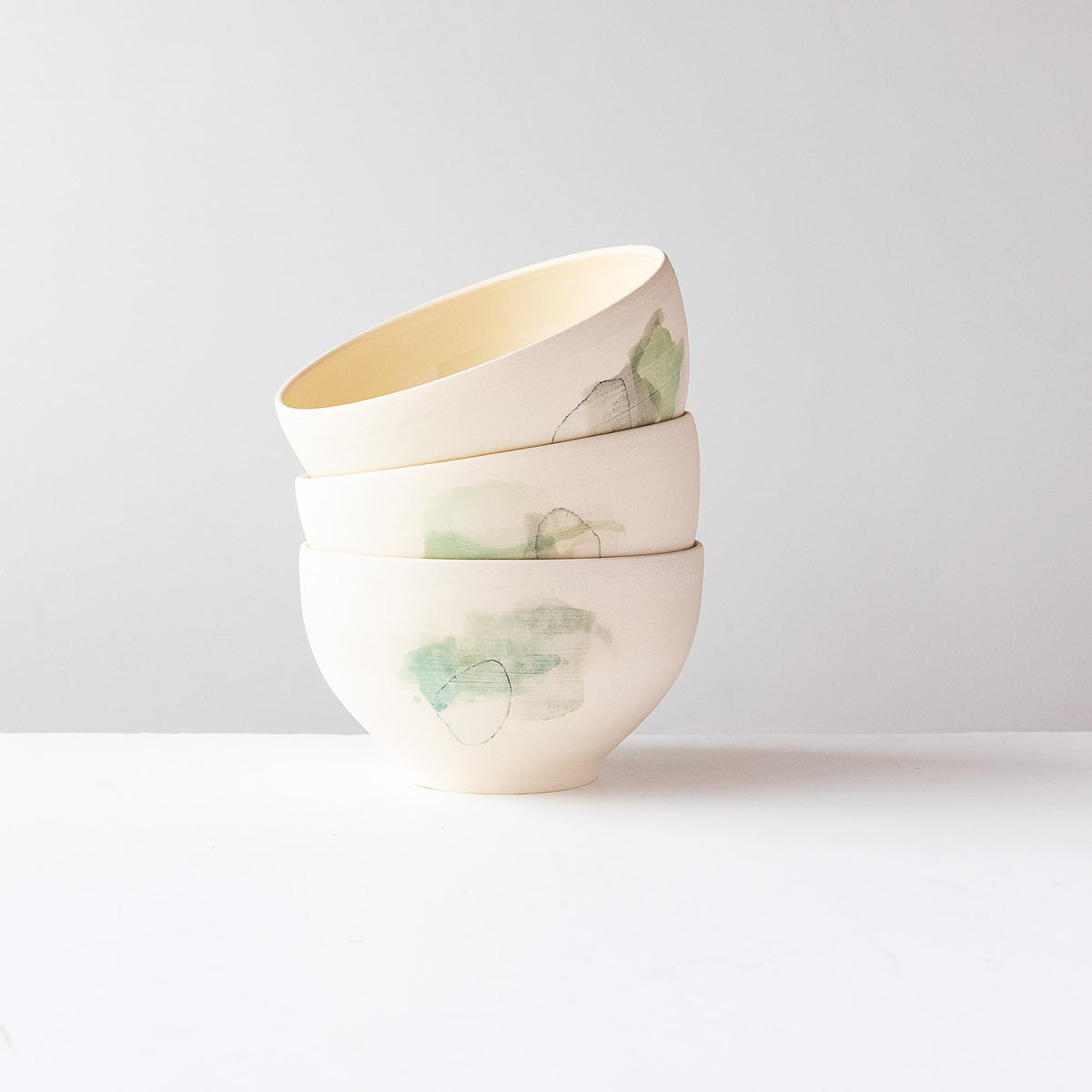Green Pattern - Three Large Hand Painted White Porcelain Bowls - Sold by Chic & Basta