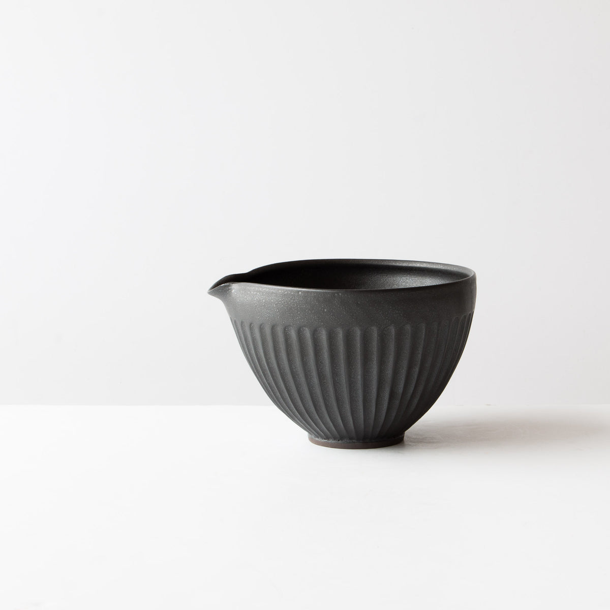 Black - Large Handmade Ceramic Mixing / Batter Bowl - Groove Pattern - Sold by Chic & Basta