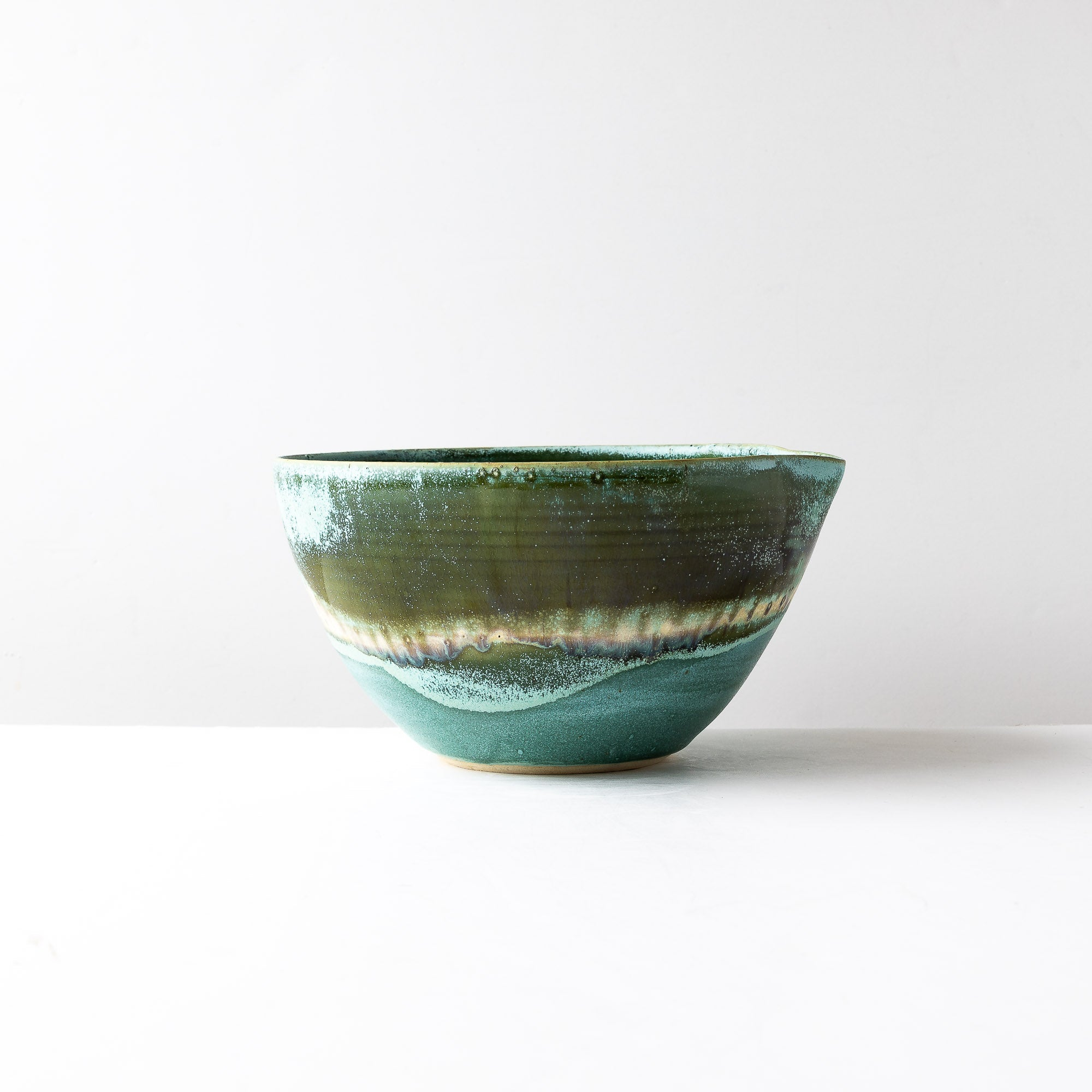 Side View - Handmade Stoneware Large Mixing Bowl with Spout - Sold by Chic & Basta