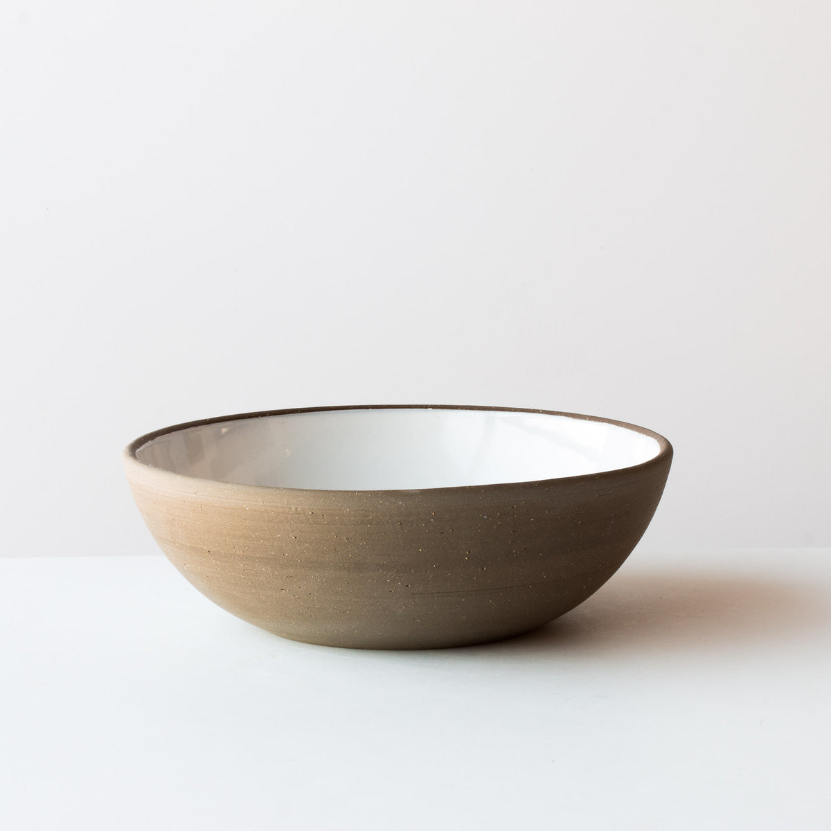 Handmade Large Ceramic Serving Bowls - In Grey Stoneware & Creamy White Glaze - Sold by Chic & Basta