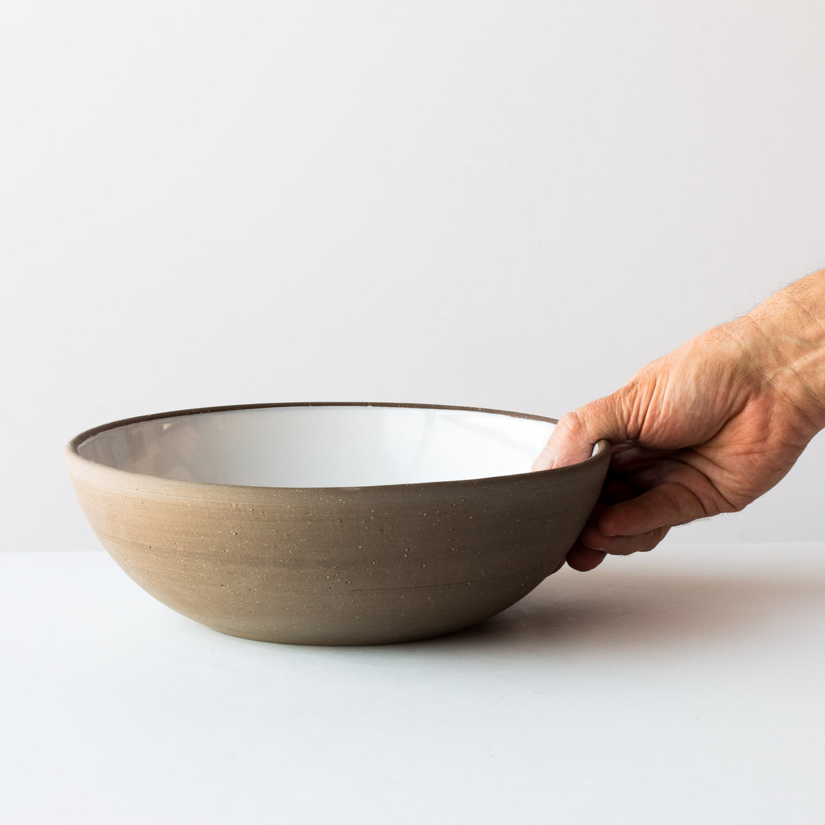 Handmade Large Ceramic Serving Bowls - In Grey Stoneware - Sold by Chic & Basta