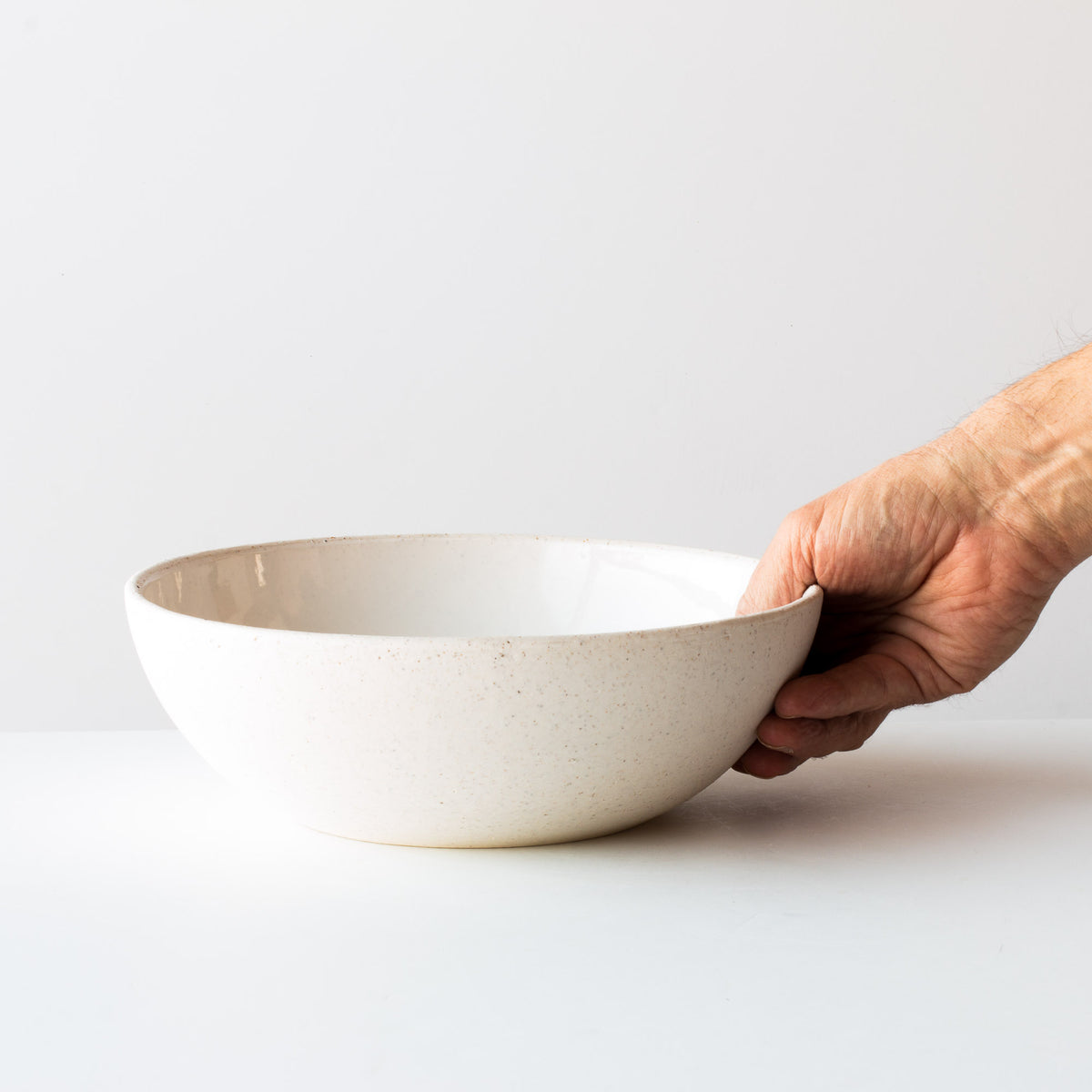 Handmade Large Ceramic Serving Bowl - In Oatmeal White Porcelain - Sold by Chic & Basta