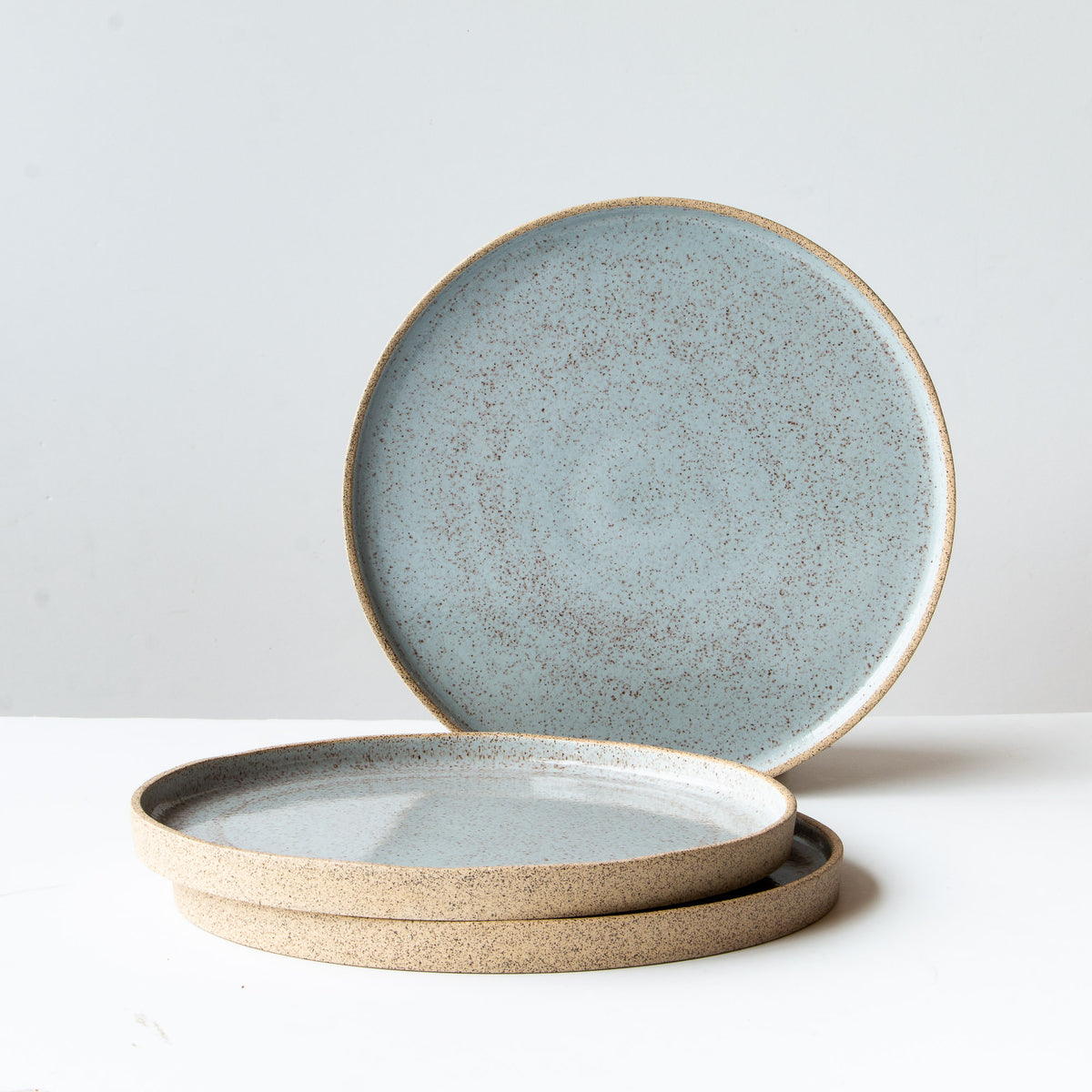 Three Large Speckled Stoneware Plates in Pale Blue Glaze - Sold by Chic & Basta