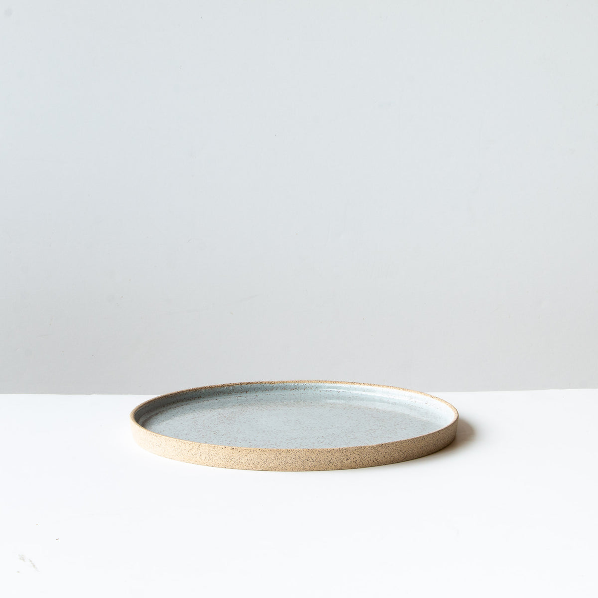 Profile View - Large Speckled Stoneware Plate - Pale Blue Glaze - Sold by Chic & Basta