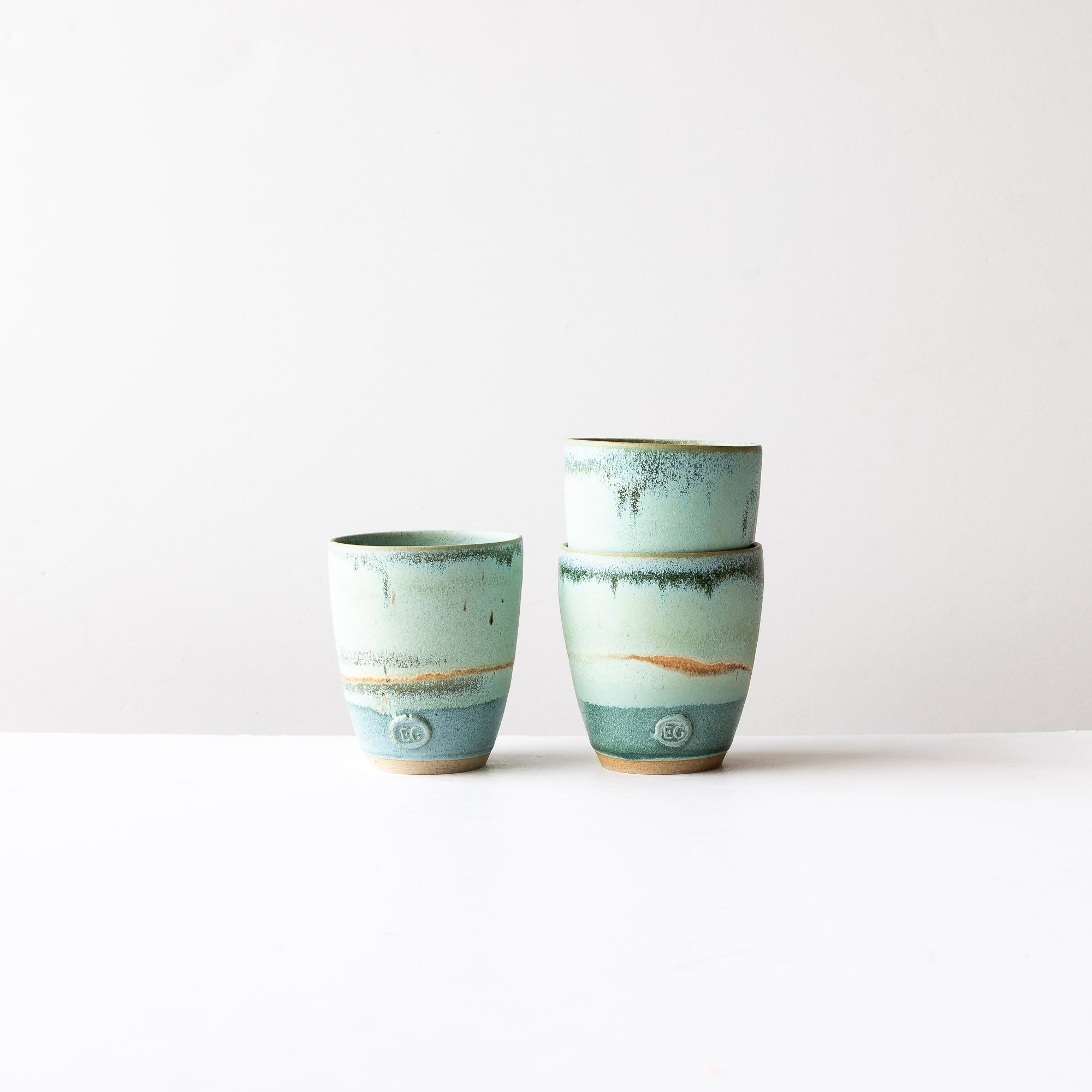 Handmade Tall Stoneware Tumbler / Glass - Spring Waters - Sold by Chic & Basta