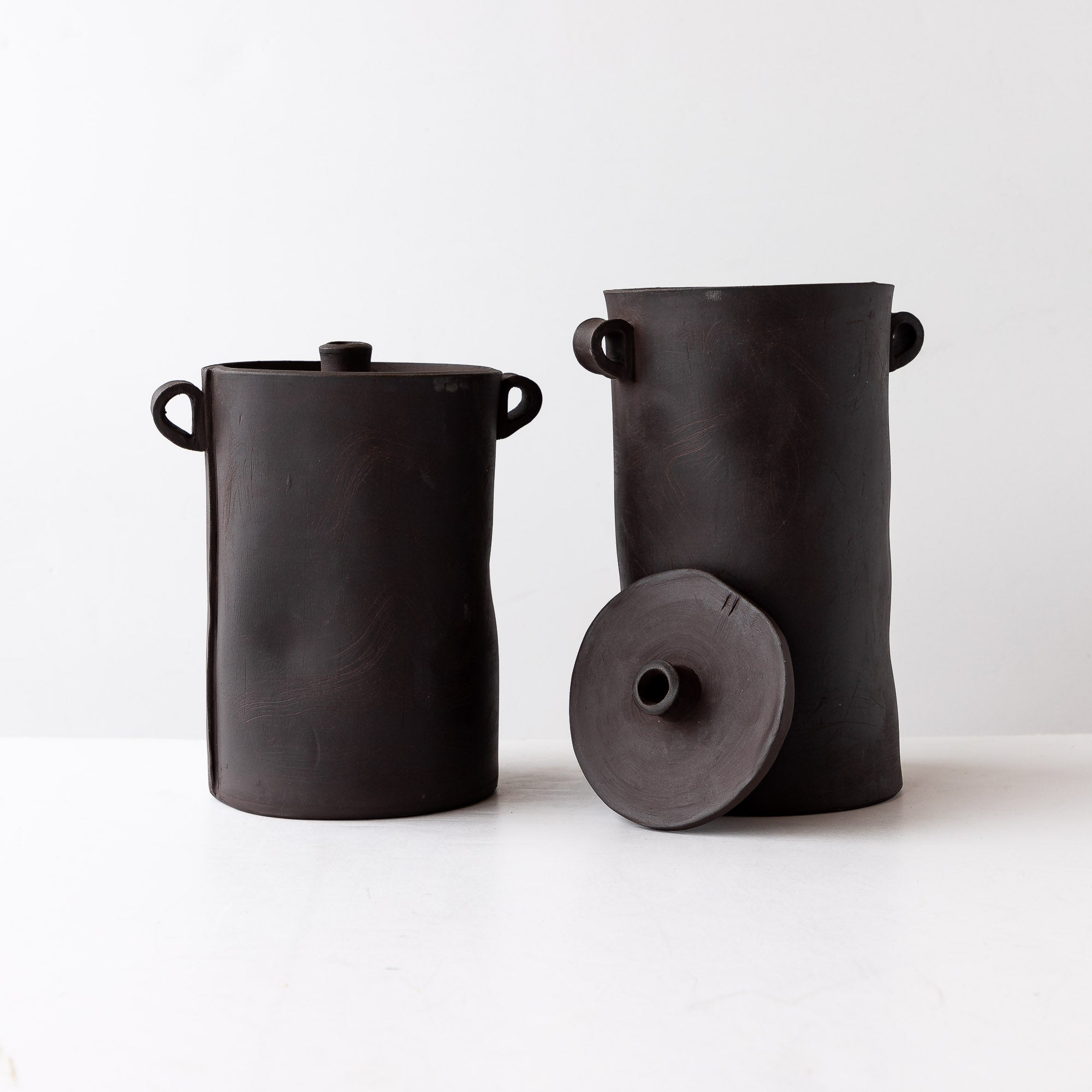 Two Large Handmade Storage Jars in Grey Stoneware - Sold by Chic & Basta
