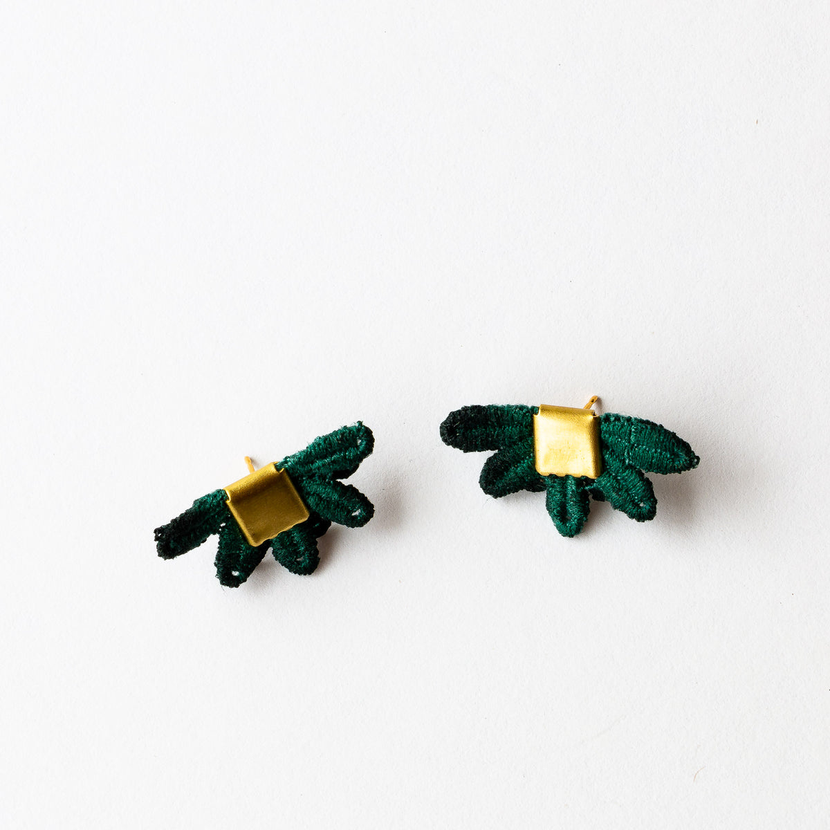 Evergreen Lace -  Larrea - Hand Dyed Lace & Brass Stud Earrings - Sold by CHic & Basta