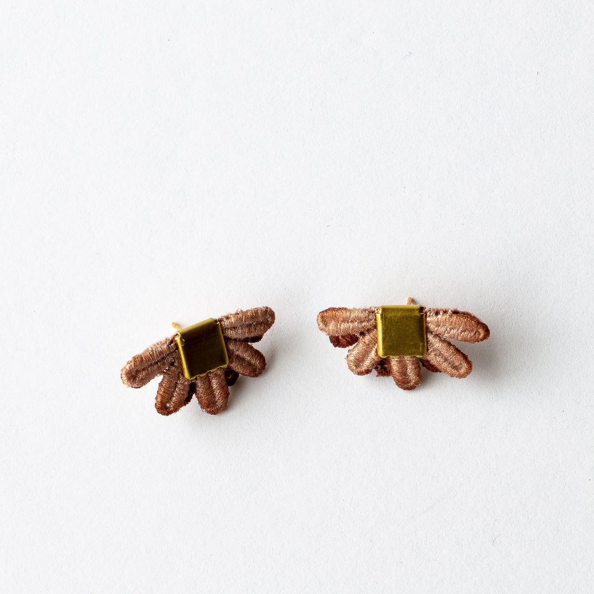 Desert Rose Lace -  Larrea - Hand Dyed Lace & Brass Stud Earrings - Sold by CHic & Basta