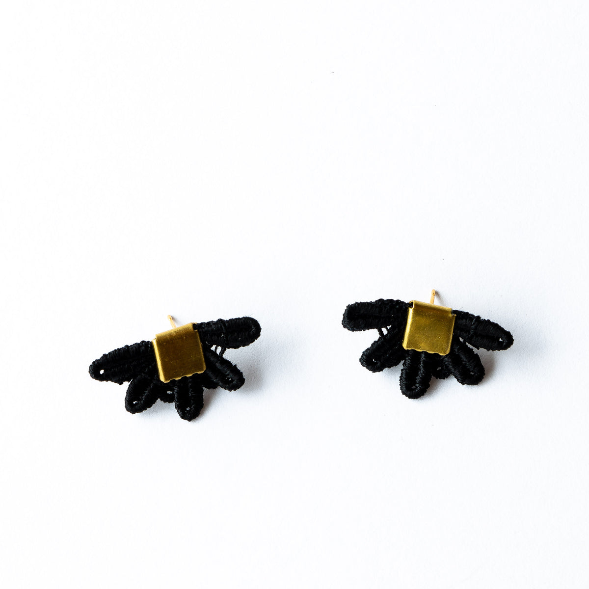 Black Lace -  Larrea - Hand Dyed Lace & Brass Stud Earrings - Sold by CHic & Basta