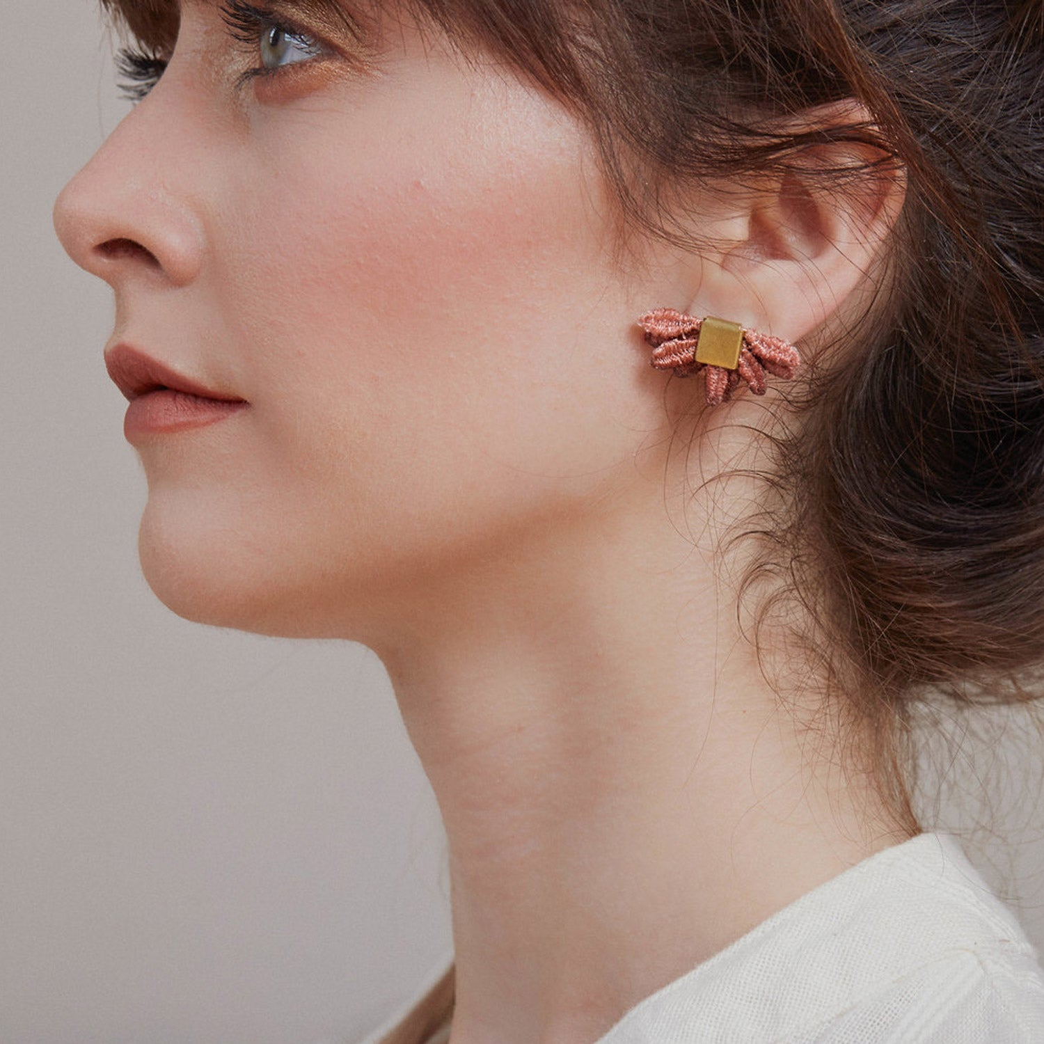 Model Wearing a Larrea - Hand Dyed Lace & Brass Stud Earrings - Sold by CHic & Basta