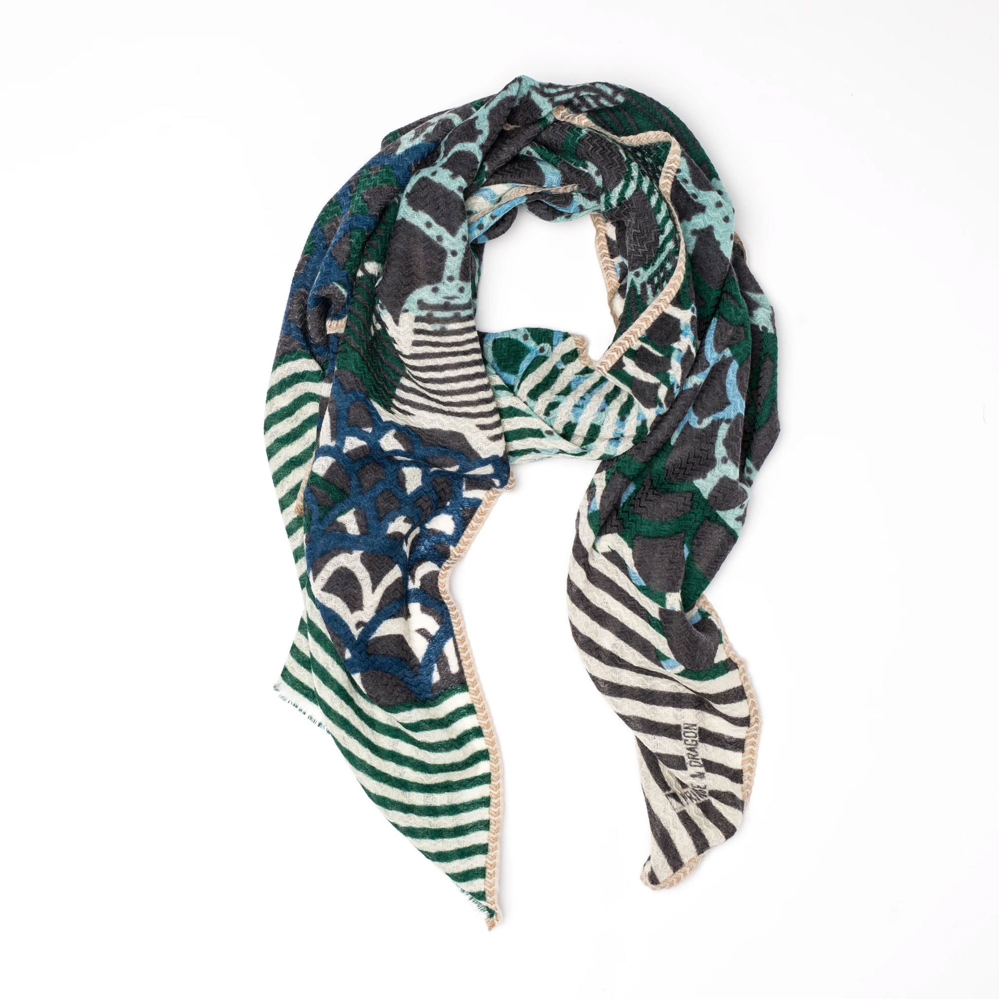 Céleste - 100% Fine Merino Wool Scarf - Forest Green & Grey - Sold by Chic & Basta