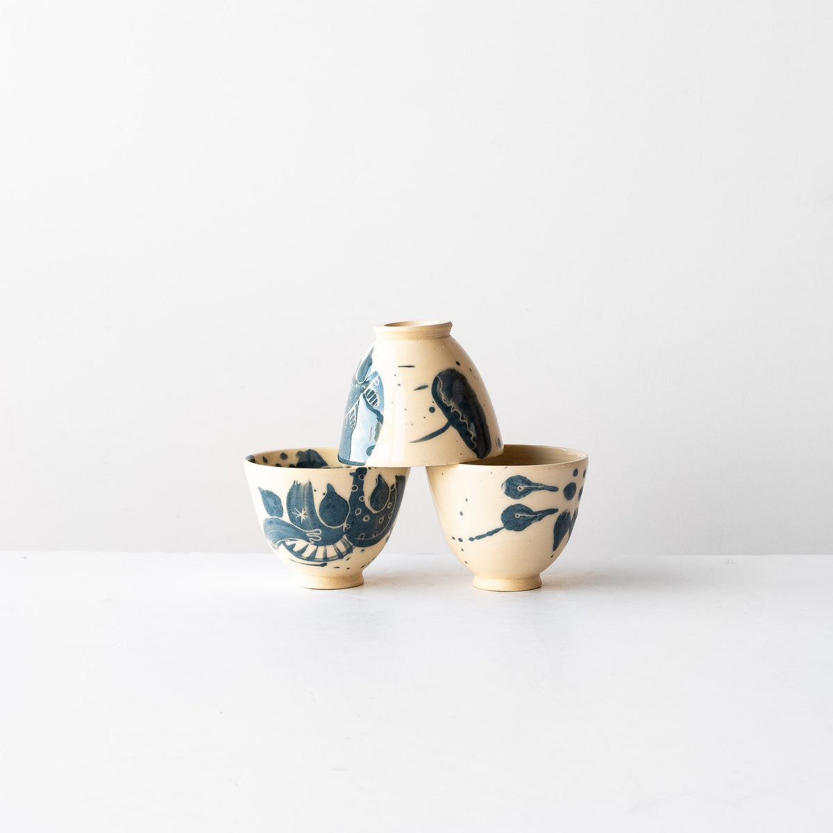 Three Blue Little Hand Painted Earthenware Bowls - Sold by Chic & Basta