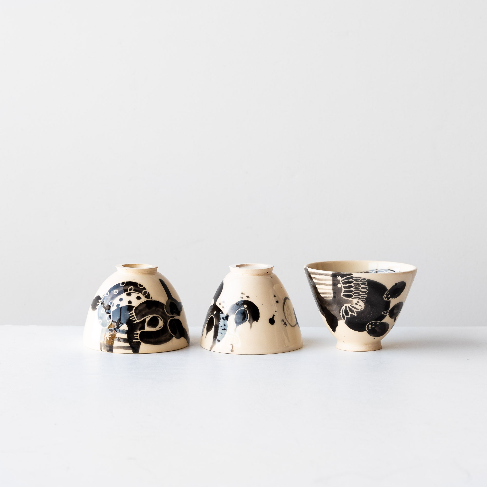 Three Black Lil' Hand Painted Earthenware Bowls - Sold by Chic & Basta