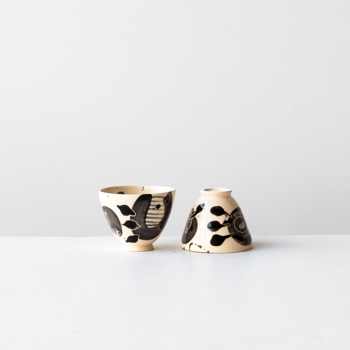 Two Black Lil' Hand Painted Earthenware Bowls - Sold by Chic & Basta