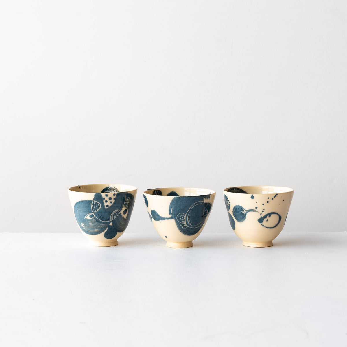 Three Blue  Lil' Hand Painted Earthenware Bowls - Sold by Chic & Basta