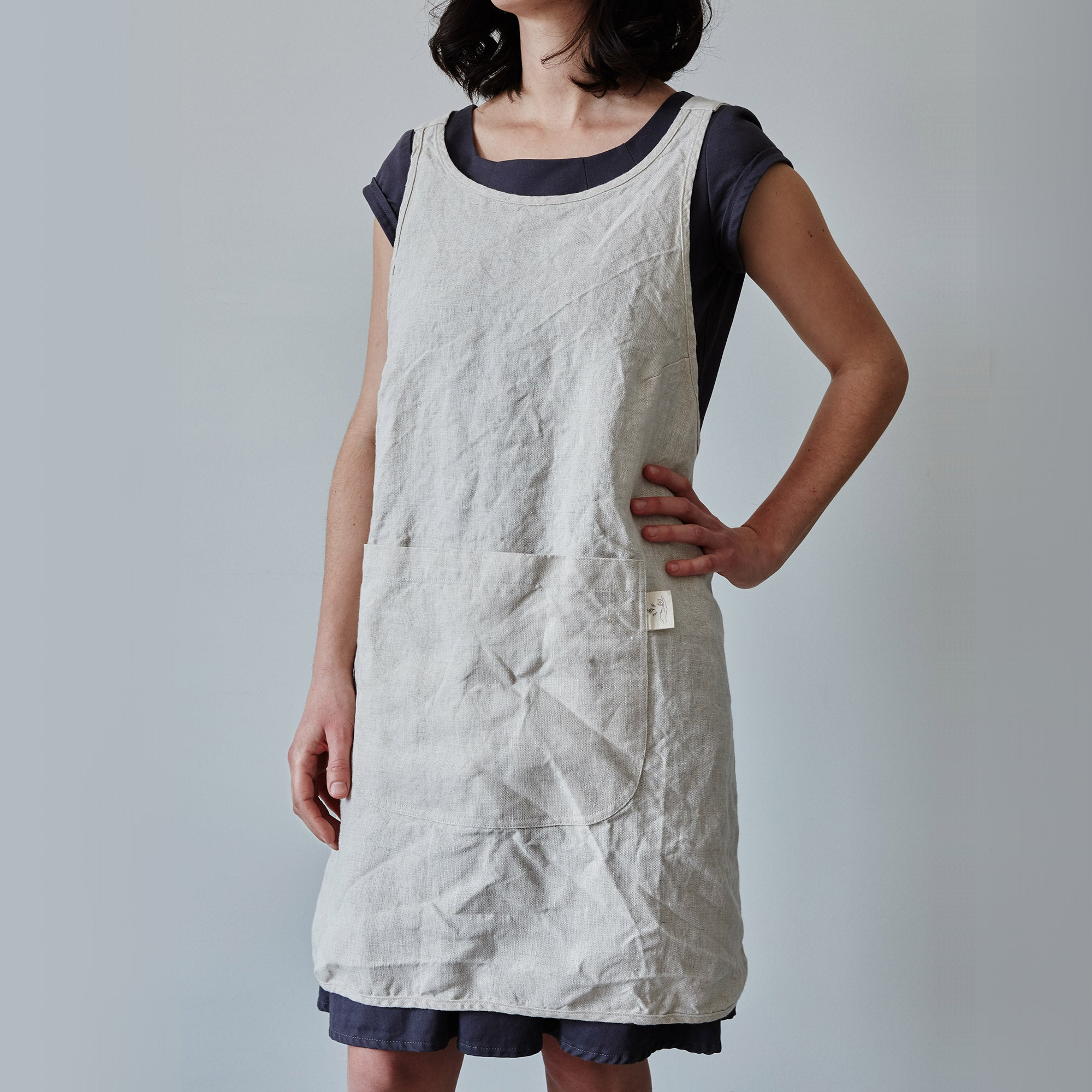 Blue Linen Kitchen Apron - One Size - Fits XS to XL - Sold by Chic & Basta