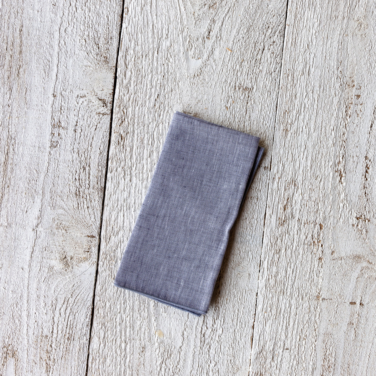 Grey-Blue Handmade 100% European Chambray Linen Napkin - Sold by Chic & Basta