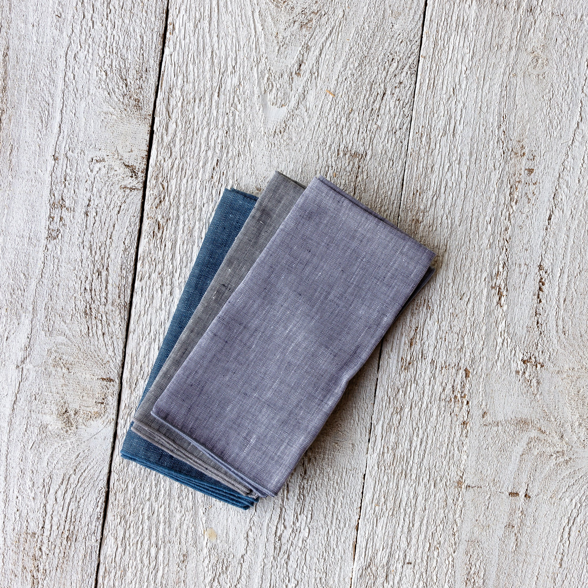 Three Handmade 100% European Chambray Linen Napkins - Sold by Chic & Basta