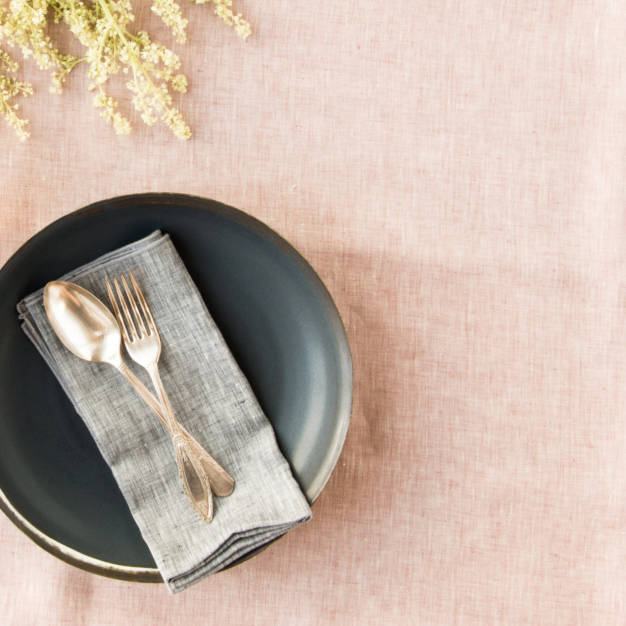 Beauty Shot- Old Rose Linen Chambray Tablecloth - Sold by Chic & Basta