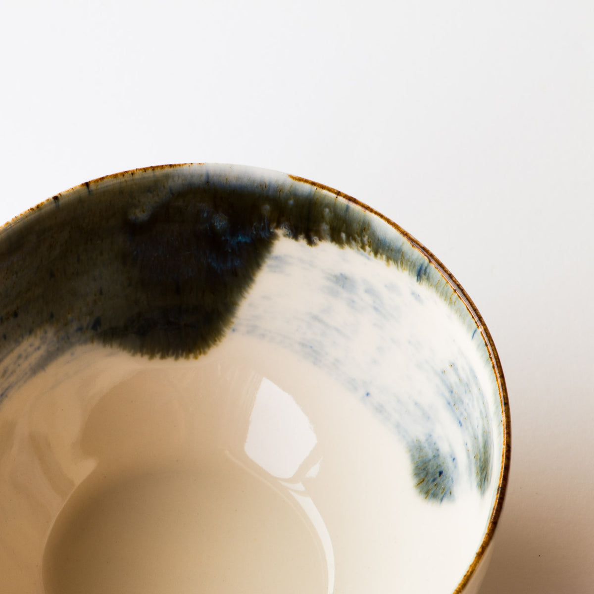 Handmade Porcelain Rice Bowl - Detail of White Painted Porcelain - Sold by Chic & Basta