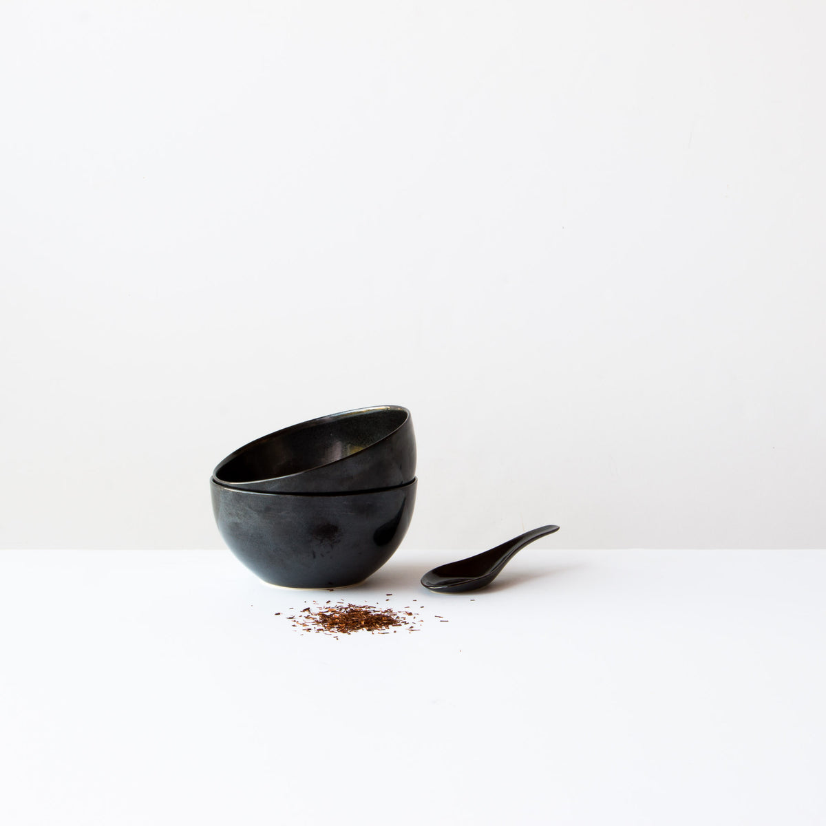 Handmade Porcelain Rice Bowl With Spoon - Black Porcelain - Sold by Chic & Basta