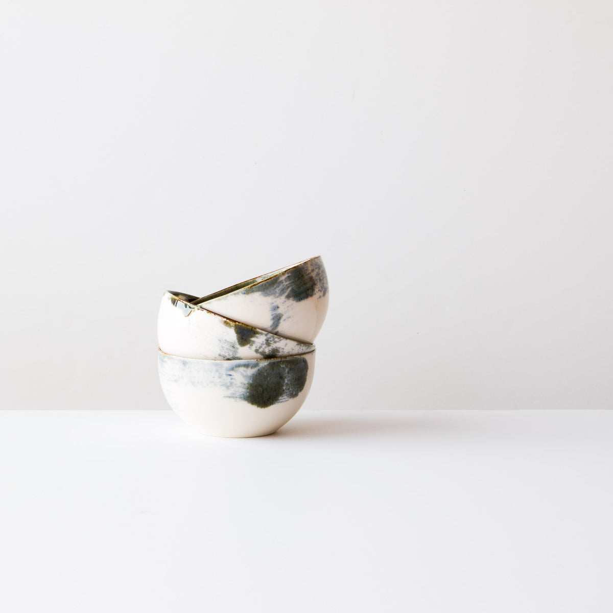Handmade Porcelain Rice Bowls - White Painted Porcelain - Sold by Chic & Basta