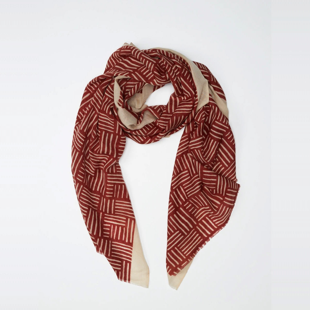 Model Wearing a Lyon - 100% Fine Merino Wool Scarf - Brick Red & Beige - Sold by Chic & Basta