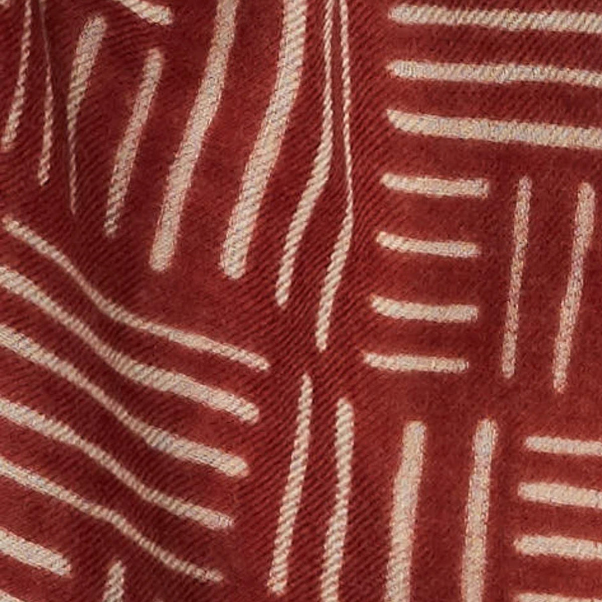 Fabric Detail - Model Wearing a Lyon - 100% Fine Merino Wool Scarf - Brick Red & Beige - Sold by Chic & Basta