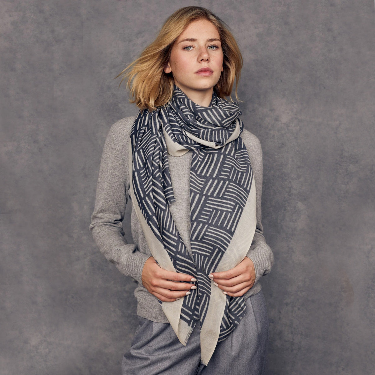 Lyon - 100% Fine Merino Wool Scarf - Grey Blue & Beige - Sold by Chic & Basta