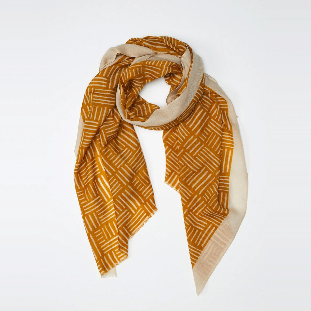 Lyon - 100% Fine Merino Wool Scarf - Saffron Yellow & Beige - Sold by Chic & Basta