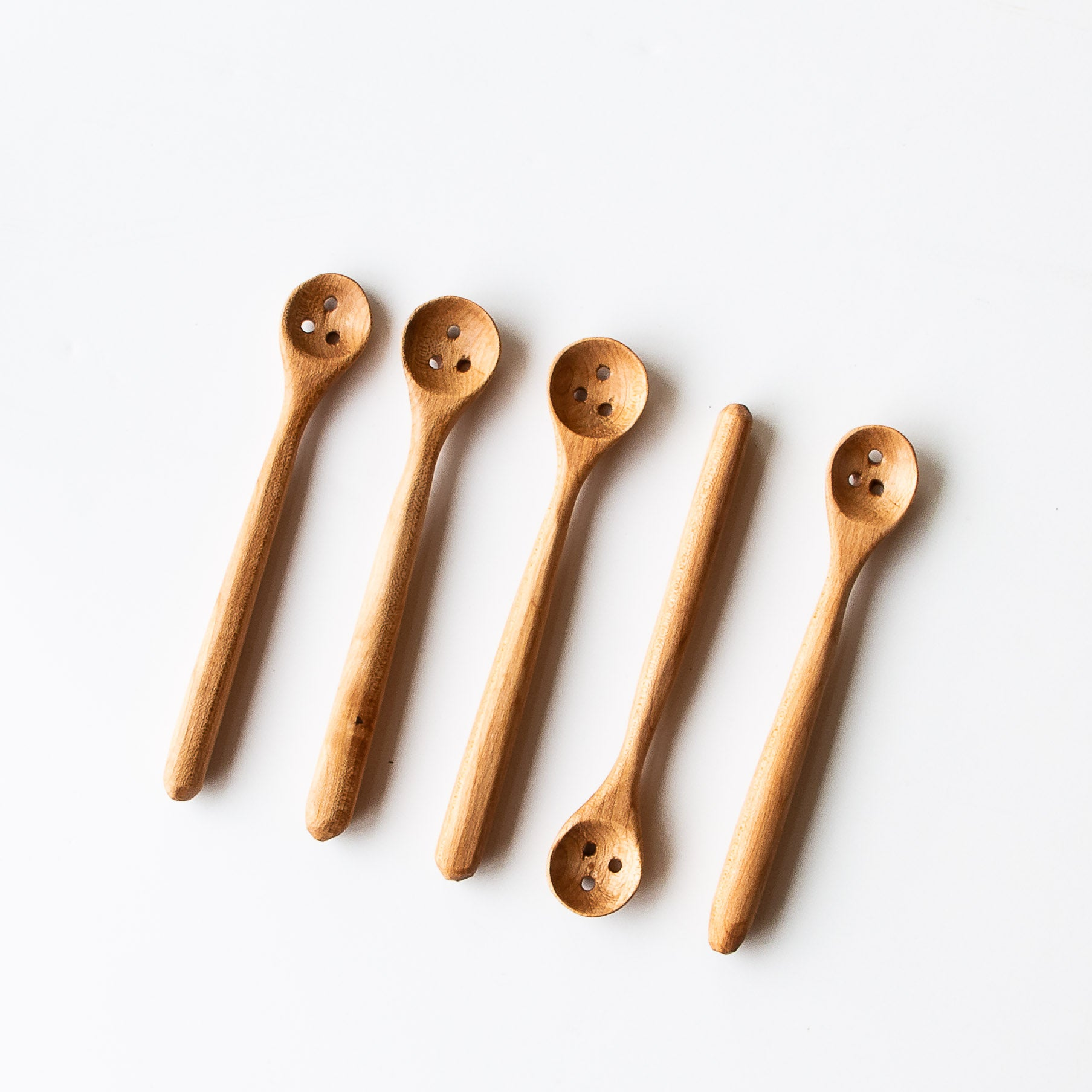 Five Handcrafted Wooden Olive Serving Spoons/Cherry Scoops w. Drain Holes - Sold by Chic & Basta