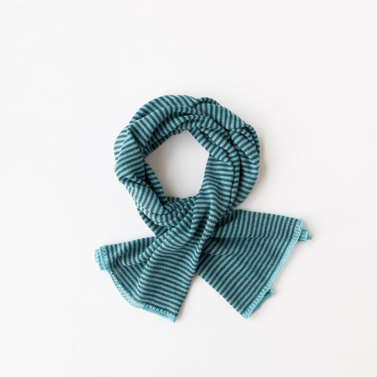 Aqua & Ocean - Baby Alpaca - Unisex Scarf With Fine Stripes & Contrasting Hems - Sold by Chic & Basta
