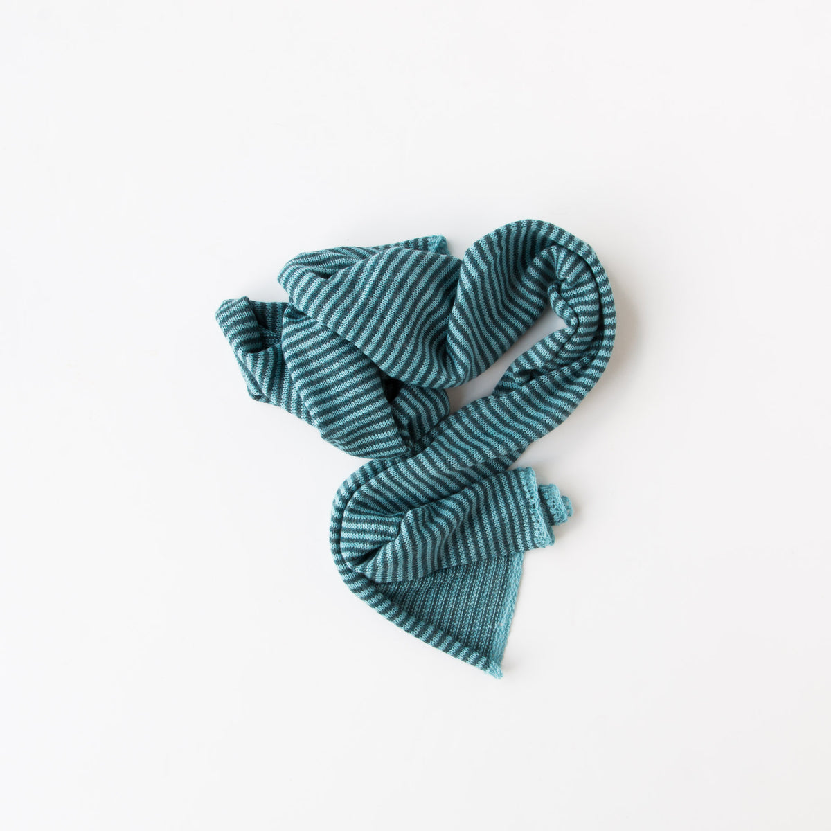 Top View - Aqua & Ocean - Baby Alpaca - Unisex Scarf With Fine Stripes & Contrasting Hems - Sold by Chic & Basta