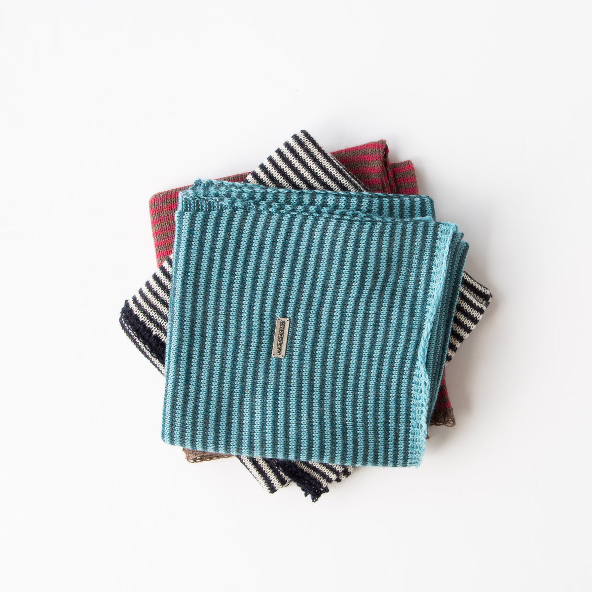 Top View -Baby Alpaca - Unisex Scarves With Fine Stripes & Contrasting Hems - Sold by Chic & Basta