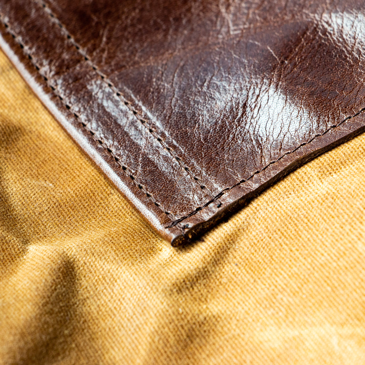 Cognac Brown Leather Detail - Masson - Large Tote Bag / Backpack - Cowhide & Waxed Cotton Canvas - Sold by Chic & Basta