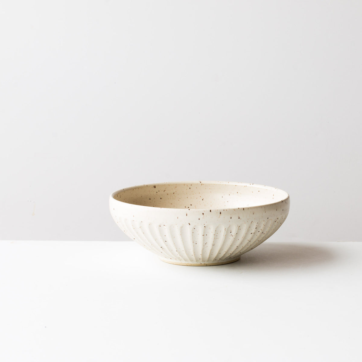Handmade Contemporary Ceramic Bowl - Speckled Off-White - Chic & Basta