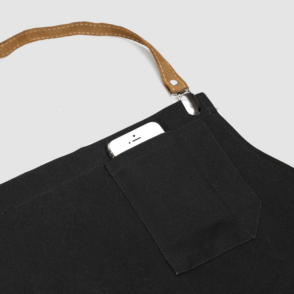 Strap Detail - Handmade Black Kitchen Apron for Men - Sold by Chic & Basta