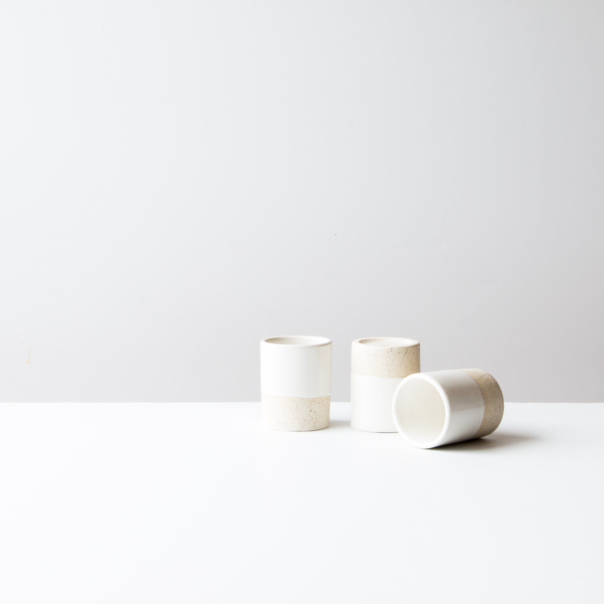 Three Handmade Ceramic Mini Tumblers / Espresso Cups - Sold by Chic & Basta
