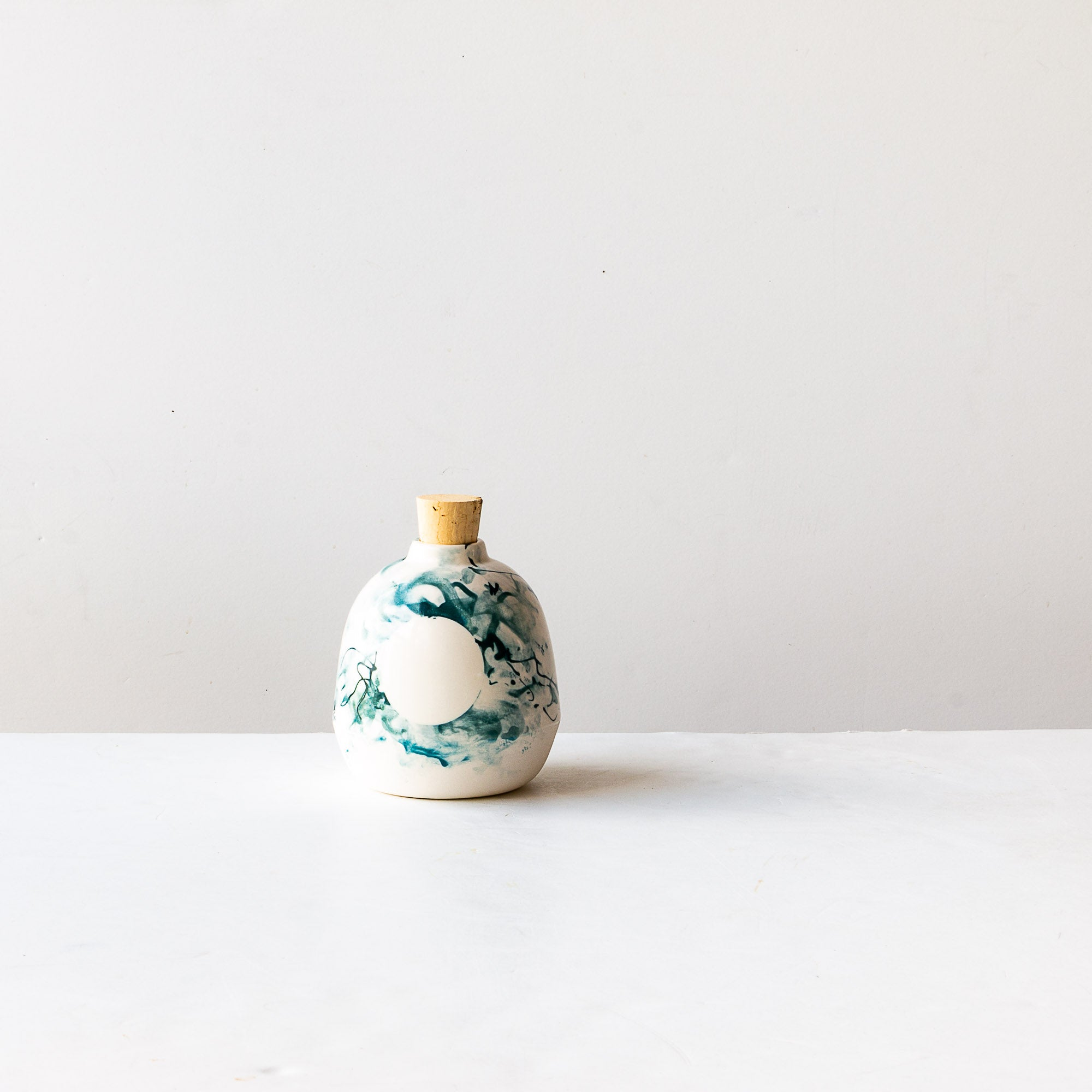 Front View - Handmade Mini Porcelain Vase With Cork - Sold by Chic & Basta