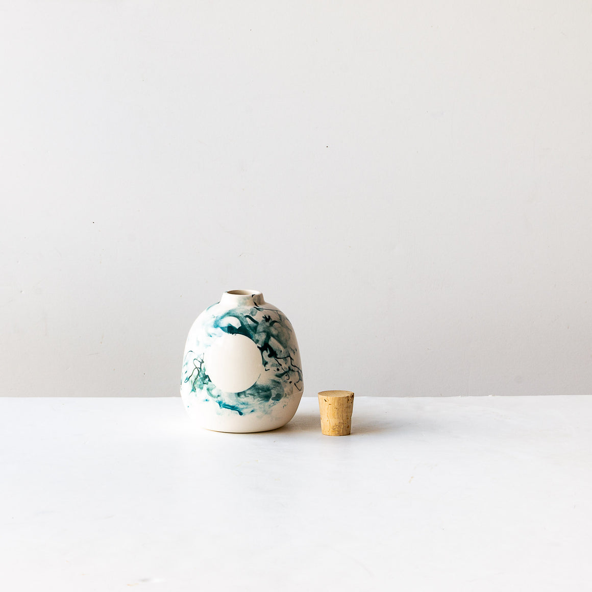Flowers with Handmade Mini Porcelain Vase With Cork - Sold by Chic & Basta
