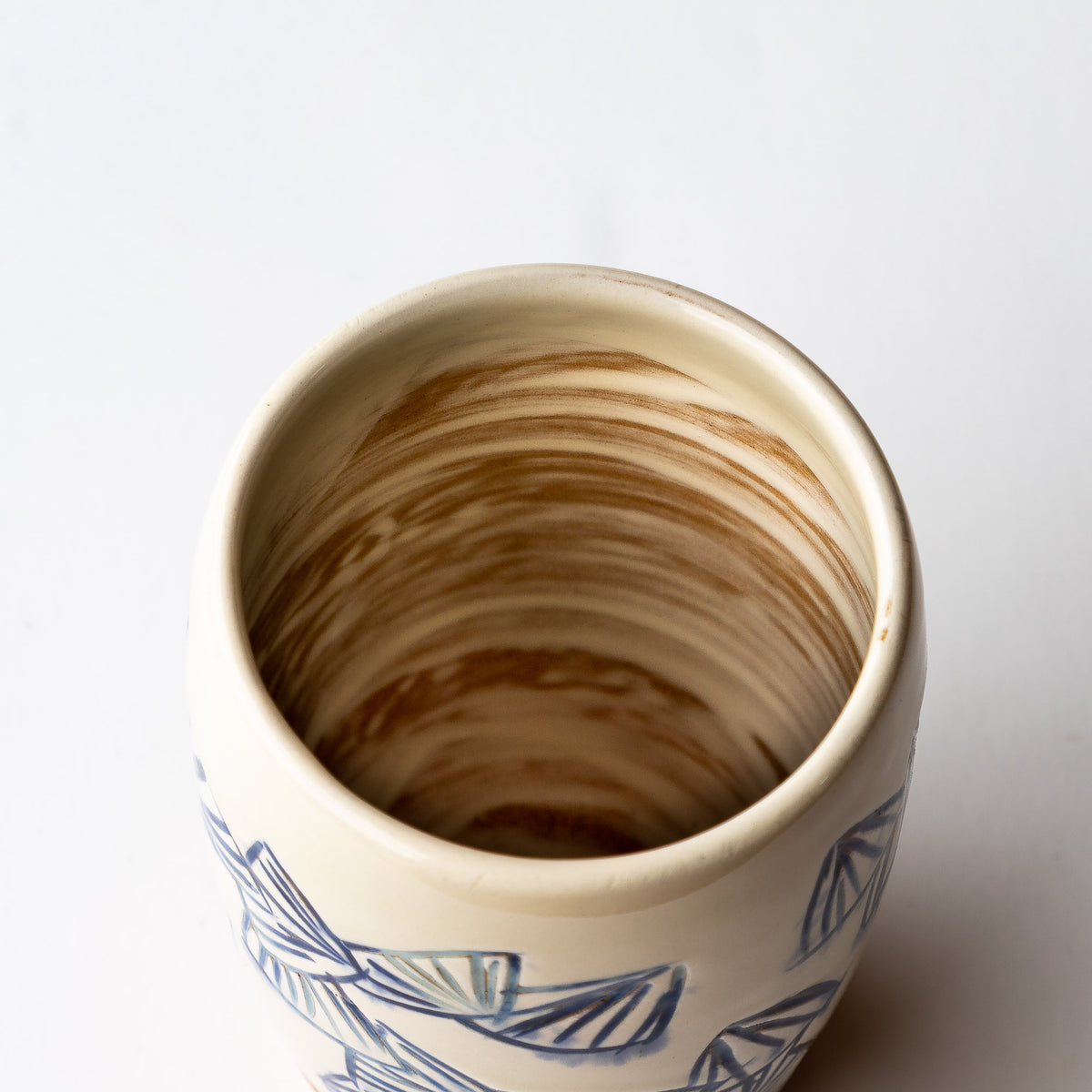Interior View - Handmade Mishima Espresso Cup With Folding Fan Pattern