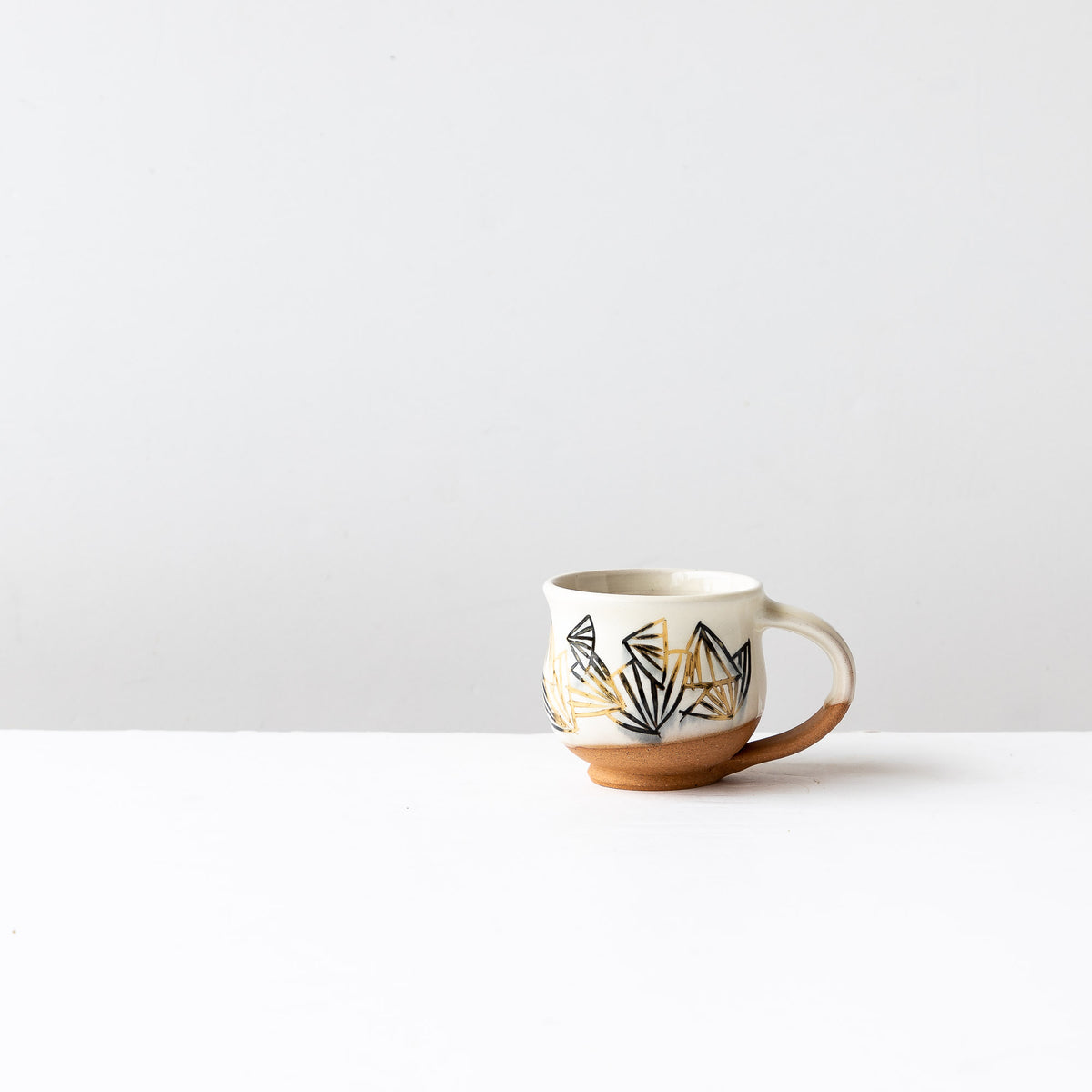 Black & Gold Pattern - Handmade Mishima Espresso Cup With Folding Fan Pattern - Sold by Chic & Basta