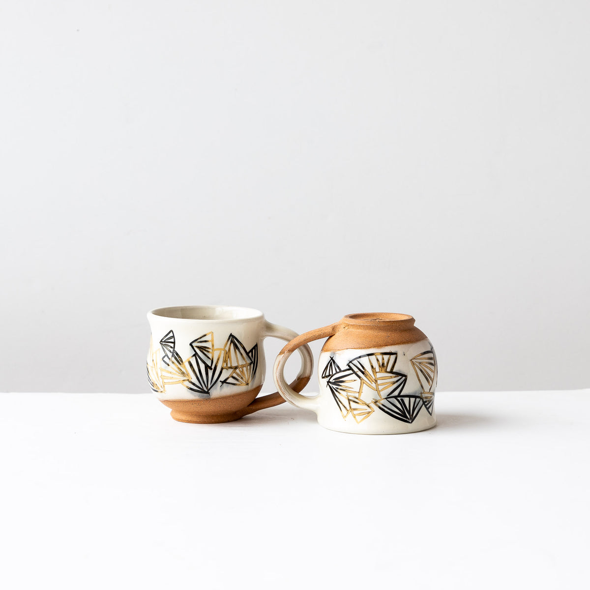 Black & Gold Pattern - Handmade Mishima Espresso Cups - Sold by Chic & Basta
