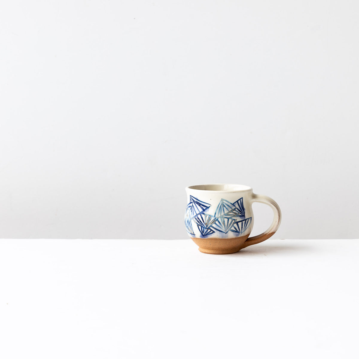Blue Pattern - Handmade Mishima Espresso Cup With Folding Fan Pattern - Sold by Chic & Basta