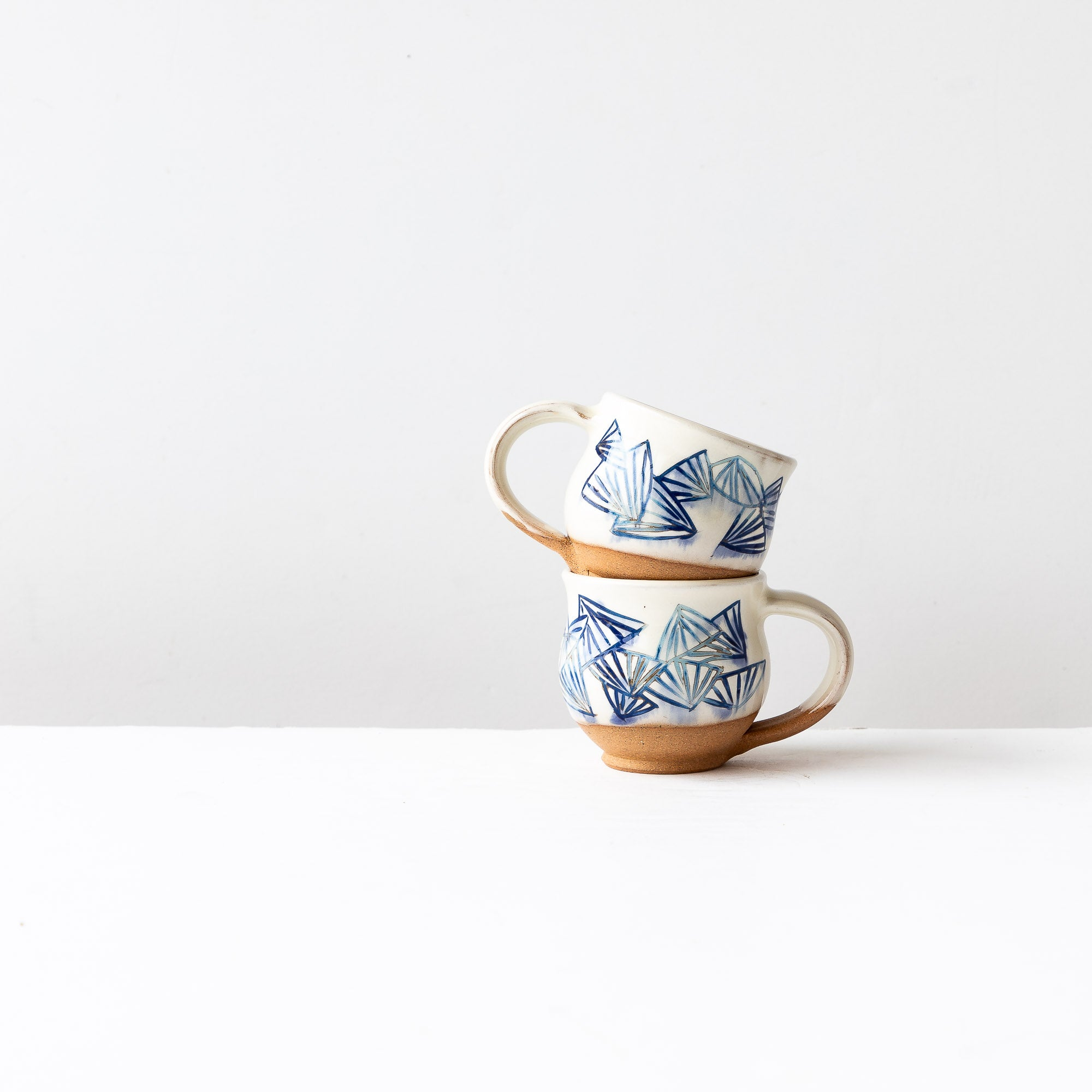 Blue Pattern - Two Handmade Mishima Espresso Cups With Folding Fan Pattern - Sold by Chic & Basta