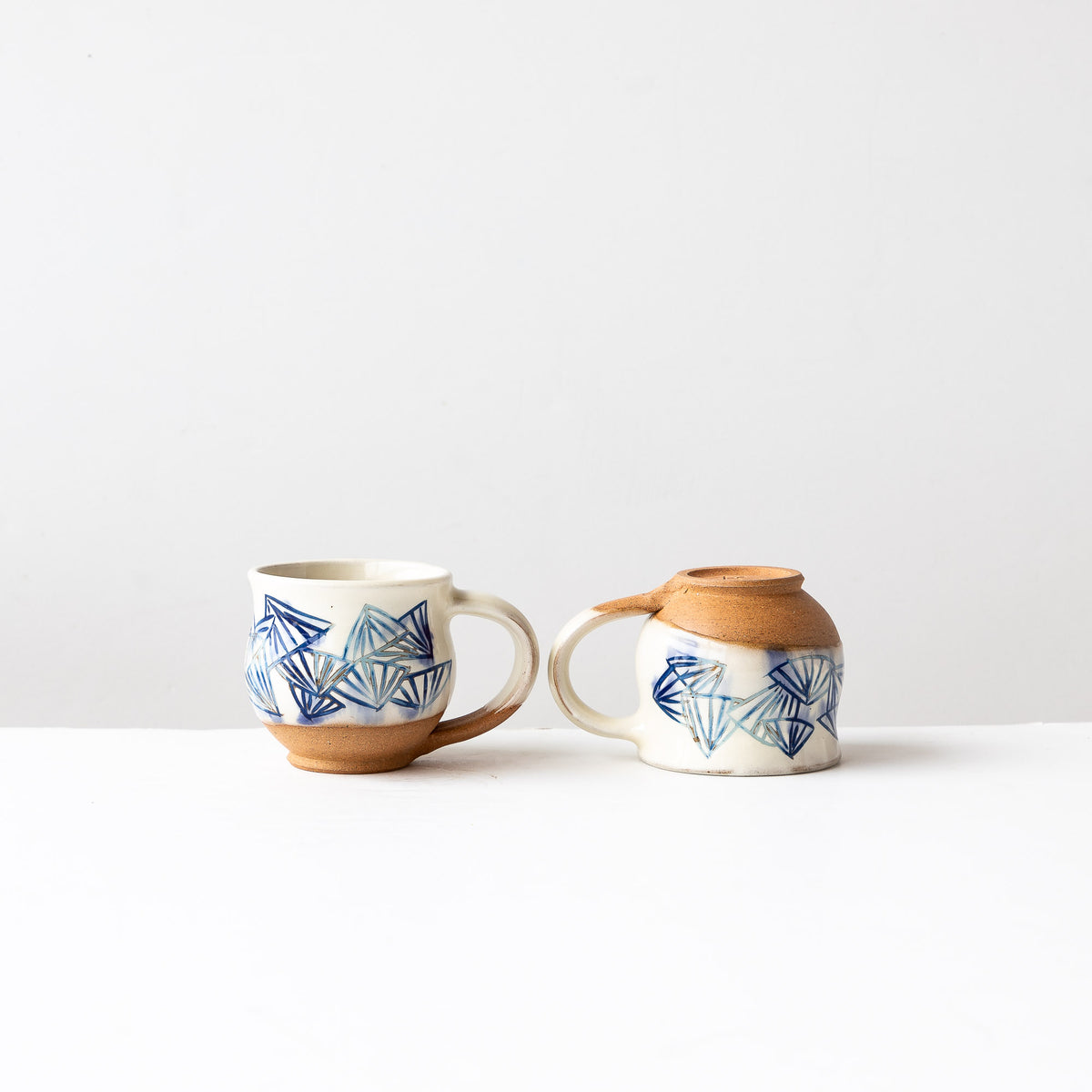 Blue Pattern - Two Handmade Mishima Espresso Cups - Sold by Chic & Basta