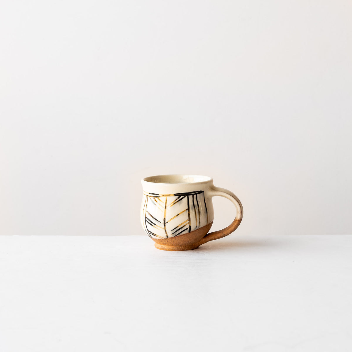 Handmade Mishima Espresso Cup With Black & Gold Lines Pattern - Sold by Chic & Basta