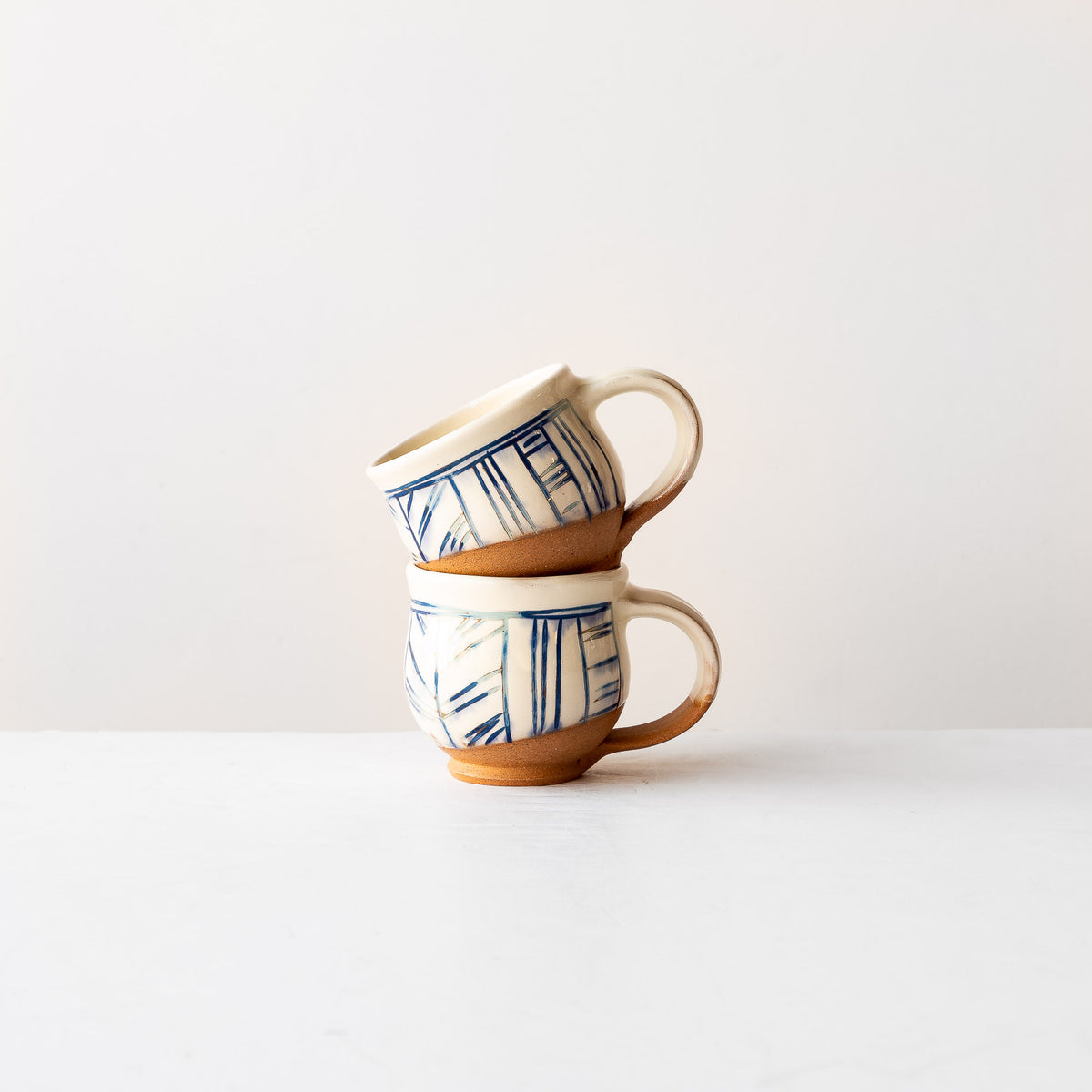 Two Handmade Mishima Espresso Cups With Blue Lines Pattern - Sold by Chic & Basta